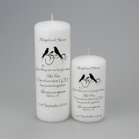 Personalised Candle with two love birds - available in two sizes