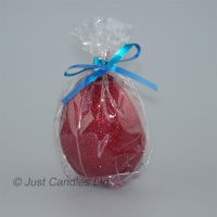 Egg shaped glittery Ruby red candle