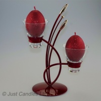 Two cup wave design egg / ball candle holder