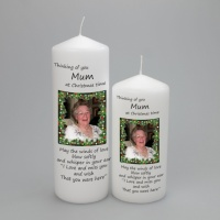 A personalised Christmas Picture candle with fairy lights border