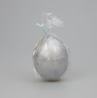 Egg shaped glittery metalic Silver candle
