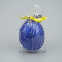 Egg shaped glittery Midnight blue candle