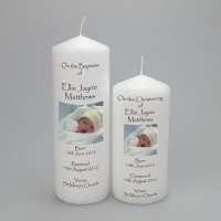 A Personalised Christening or Baptism pillar Picture / Photo Candle