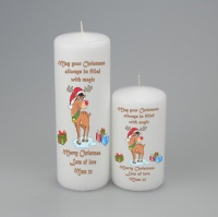 Personalised Merry Christmas Candle with Reindeer in two sizes