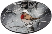 Oval Bowl for Ball Candle - Winter Robin