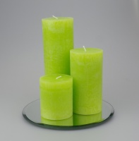 Rustic Pillar set of 3 Lime Green