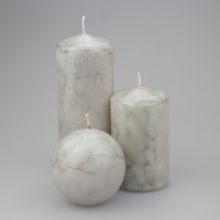 Marble coloured Marble Pillar candle set of 3