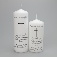 Personalised  Candle with a simple cross - available in two sizes