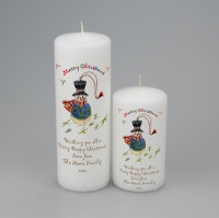 Personalised Merry Christmas Candle with snowman