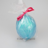 Egg shaped glittery Teal ball candle