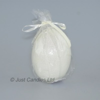 Egg shaped glittery white  ball candle
