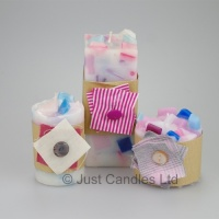 Blue pink and Cream decorative candle set with Ylang Ylang fragrance