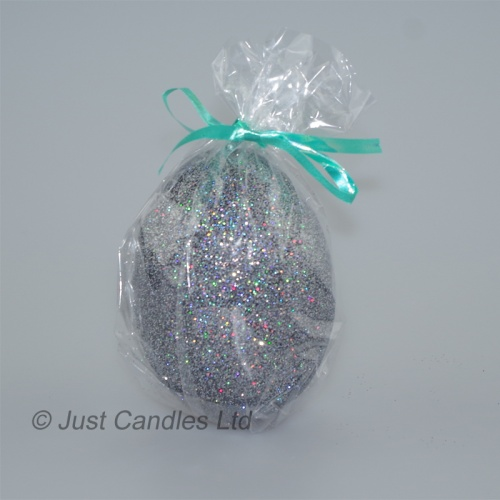 Egg shaped glittery graphite candle
