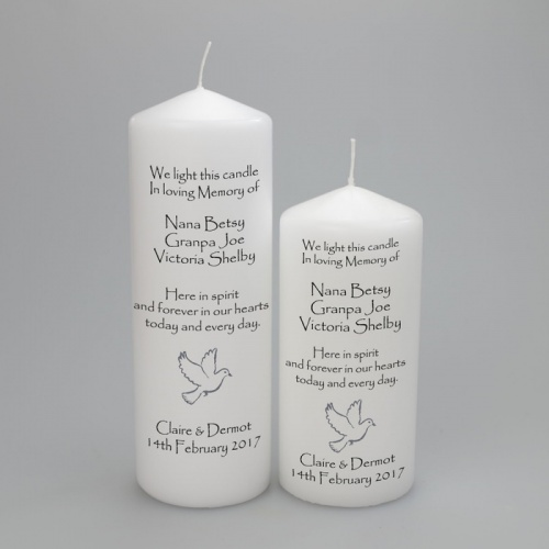Wedding Absence candle with Names, Silver Dove and 'Here in Spirit' Verse