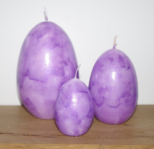 Marble effect egg candle set of 3 - Lilac