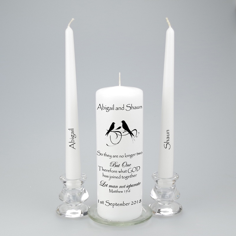 Personalised Unity Candle featuring love birds