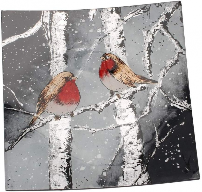 Square Glass Plate curved  - Winter Robin