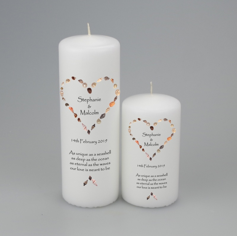 Personalised Wedding Candle with a Seashell Heart - available in two sizes