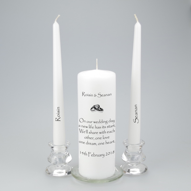 Personalised Unity candle with gold or silver entwined Rings