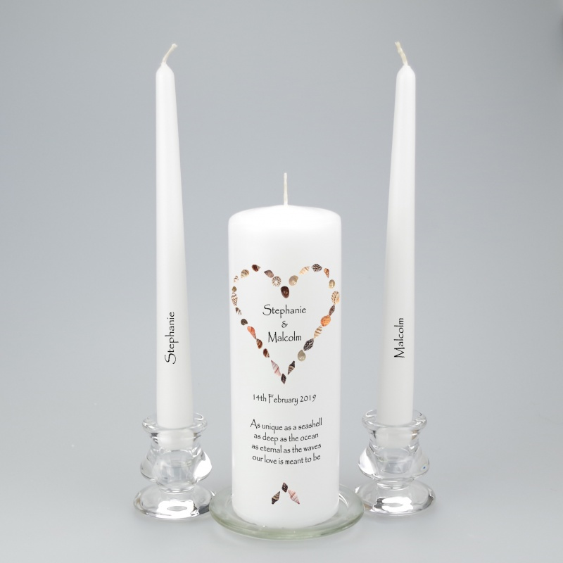 Personalised Unity Candle with a heart of seashells