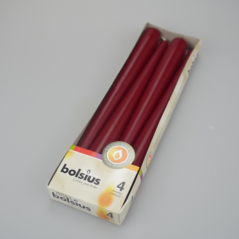Pack of 4 Wine Red taper dinner candles