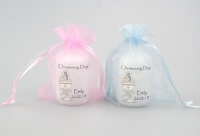 Christening Favour candle featuring the Holy Water font