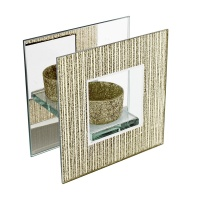 Hestia Gold Mirror & Glass Single Tealight Holder