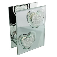 Glass & Mirror Double Tealight Holder Crystal Heart